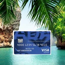 ADA Preferred Rewards Visa card with tropical background image