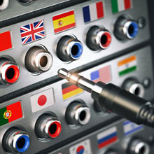 switch board showing different country flags